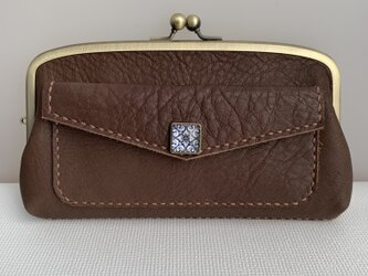 【送料無料】外ポッケが付いた、本革親子がま長財布(こげ茶色レザー)の画像