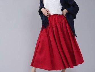 【wafu】中厚リネン揺れるフレアスカート ウエストヨークのフレアスカート リネンスカート / レッド s003a-red2の画像