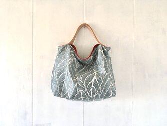 【受注製作】ブルーグレー色ジャカード生地の鞄の画像