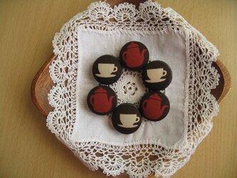 くるみボタンのマグネット・カップ&ポット柄6個setの画像