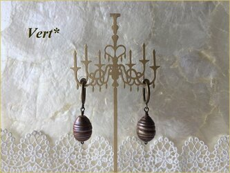 《受注品》アンティークゴールド縞入り大粒ライス風バロック淡水パールフープイヤリングの画像