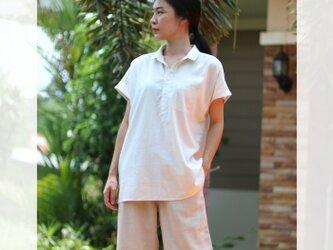 【ネット限定】 レーヨン & リネン シャツ 半袖 麻 ゆったりサイズ M L オフホワイト ユニセックス Tomoの服の画像