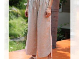 【ネット限定】 リネン & レーヨン 9分丈 ゆったり ワイドパンツ 麻 サイズ M L 生成り ユニセックスの画像