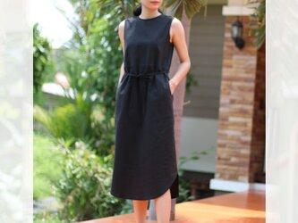 【ネット限定】 リネン&コットン 裾がカーブになったノースリーブ ドレス ワンピース 半袖 麻 ブラックの画像