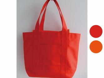 ★フラップで荷物をカバー★オレンジレッド×オレンジ 11号帆布トートバッグの画像