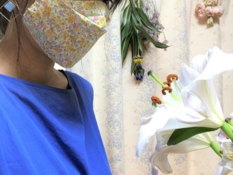 舟型 軽くて呼吸しやすい 夏用マスク 小花模様 接触冷感タイプの画像