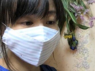 舟型 軽くて呼吸しやすい 夏用マスク 涼し気 ストライプ模様 接触冷感の画像