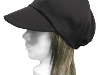 ハーフリネンストレッチツイル/つば広キャスケット(ゆったり)◆ブラックの画像