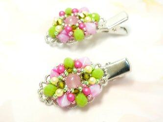 ミニクリップ2個セット*Pink&Greenの画像