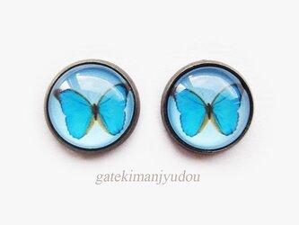 青い蝶のアンティーク調ピアスの画像