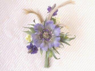 まつむし草とラベンダーの花束 * シルクデシン製 * コサージュの画像