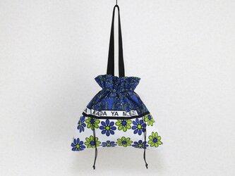 カンガの巾着バッグ 大きなサイズ / アフリカ布 / エコバッグの画像