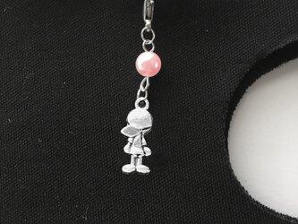 マスクチャーム 女の子 コットンパール ピンク 金属アレルギー対応済みの画像