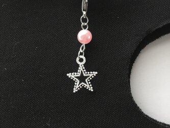 マスクチャーム 星 コットンパール ピンク 金属アレルギー対応済みの画像
