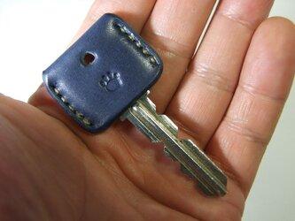 肉球刻印のキーカバー ネイビーxベージュの画像