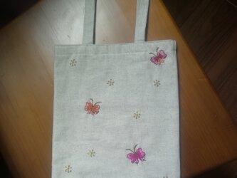 Papillon*Tote☆手刺繍トート☆リネンのトートの画像