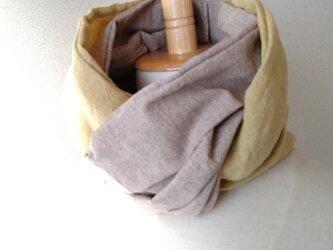 20-14 日本製ベルギーリネンと綿 スカーフ風日除けネックウォーマーの画像