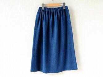 腰機手織り布テヌンに浅間の藍、素直なスカートの画像