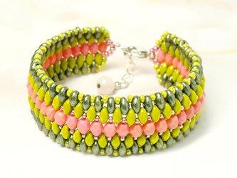 エスニック風ブレスレット*Pink&Greenの画像
