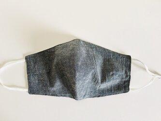 ダーツ付きマスク(綿麻ダンガリー濃紺+ダブルガーゼ)の画像