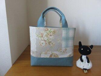 yuwaバラ柄とウオッシュ加工帆布のトートバッグの画像
