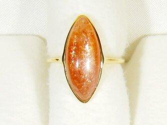 6.35ctサンストーンとSV925の指輪(リングサイズ:9.5号、K18厚メッキ、天然石、欠けあり)の画像