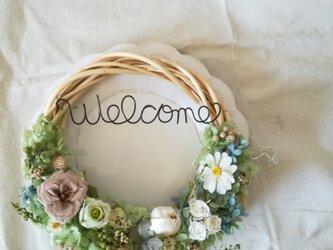 パステルflowersのwelcome wreath(リース プリザーブドフラワードライフラワー)の画像