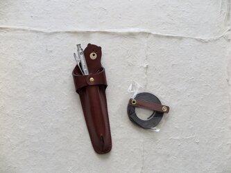 【茶色】レザーペンホルダー革ひも付きの画像