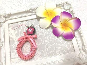 ハワイアンリボンレイ【リックラックスクエアチャーム・濃いピンクXピンク】完成品♪の画像