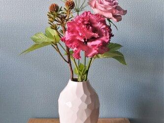 花器 花瓶 (白)Vase (white) 陶磁器製 の画像