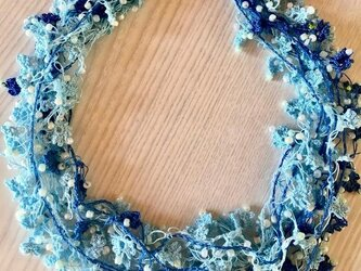 ビジューの刺繡ネックレス フラワー・ジュエル オーシャンの画像