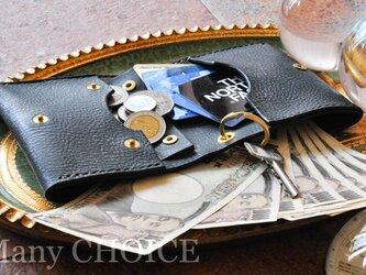 イタリアンバケッタレザー・アラスカ・コンパクト2つ折り財布(黒)の画像