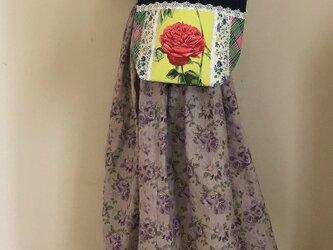 帆布パッチワークバッグ アンティークフランス生地 薔薇模様 お出かけトートバッグの画像