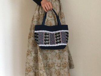 帆布パッチワークバッグ PJC刺繍 お嬢様トートバッグの画像