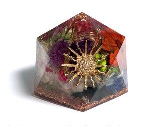 太陽 希少渦ケオン入り 金運 幸運 ヒーリング ポジティブ メモリーオイル入り 多面体 オルゴナイトの画像