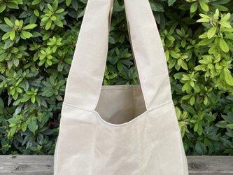 帆布エコバッグ レジ袋タイプ ベージュの画像