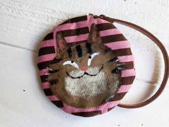 キジ猫の丸型ポーチ〈ピンク〉の画像