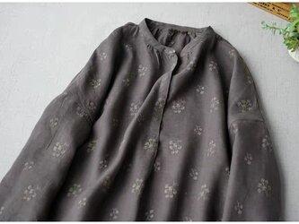 薄地総刺繍リネン100%シンプルな大人可愛い長袖ワンピース♪の画像