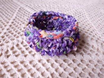 古布(裂き編み)の小さなかご・虹の画像