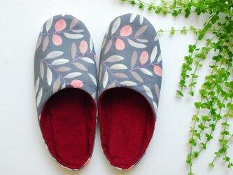 秋の花模様 ルームシューズ スリッパ 北欧 グレー ピンク ワイン コーデュロイ 手洗いOKの画像