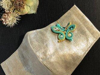 マスクチャーム 蝶(エメラルド×ゴールド)の画像