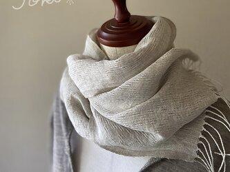 shawl[手織りリネンショール] ベージュの画像