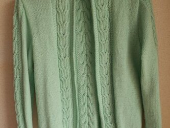 ミントグリーンの編み込みカーディガンの画像