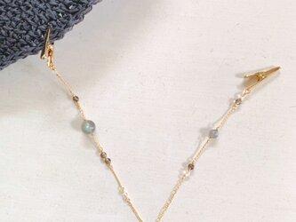 天然石のハットクリップ(スモーキー×水晶×ラブラド)の画像