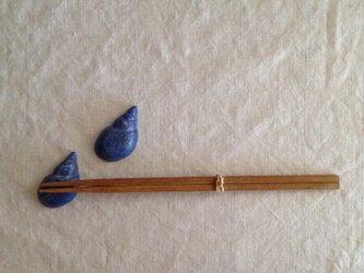 巻貝箸置き(ペア)ブルーマットの画像