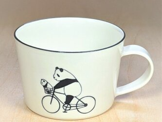 パンダスープカップ(自転車とパンダカー)の画像