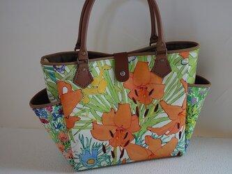 サイドポケットバッグS(リバティ:アンナズガーデン・ユリ柄)の画像