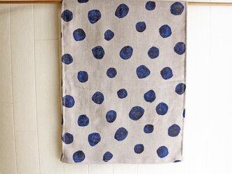 うちリネン 綿麻 水玉のフェイスタオル ダブルガーゼの画像