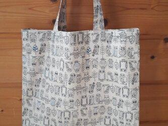 ♪春のSALE♪ふくろう柄のお買い物バッグ(小)*ベージュの画像