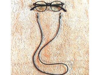 ブラック イタリア製牛革 メガネコード & マスクコード & ブレスレットの画像